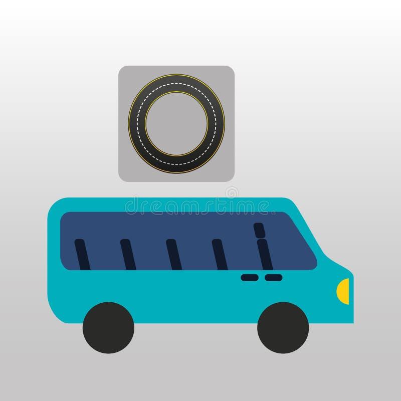 Голубой дизайн пути дороги круга шины иллюстрация вектора
