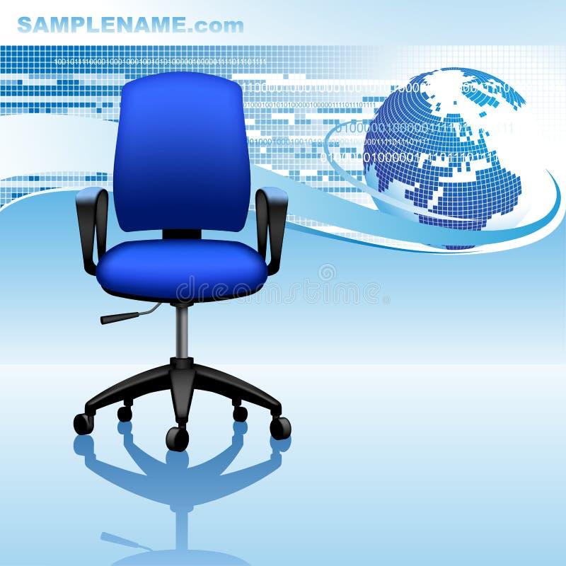 Голубой дизайн шаблона с абстрактными предпосылкой, глобусом и офисом бесплатная иллюстрация
