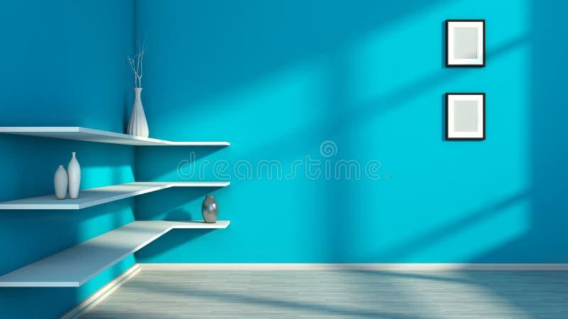 Голубой интерьер с белыми полкой и вазами иллюстрация штока