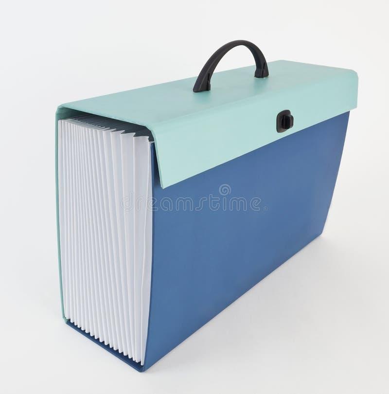 Голубой и зеленый случай документа аккордеона стоковое изображение