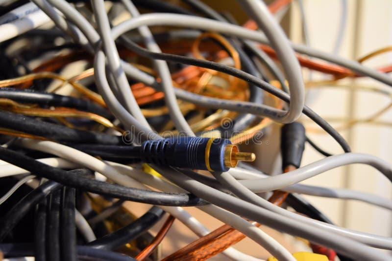 Голубой кабель Джек среди джунглей шнуров стоковые фотографии rf