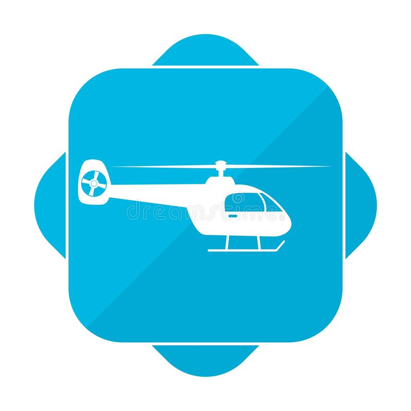 Голубой квадратный вертолет значка иллюстрация штока