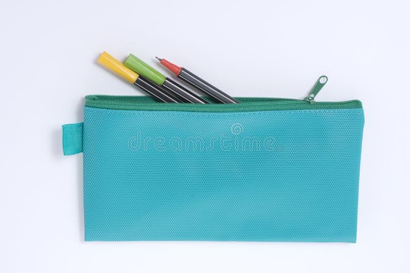Голубой кожаный случай карандаша стоковая фотография rf