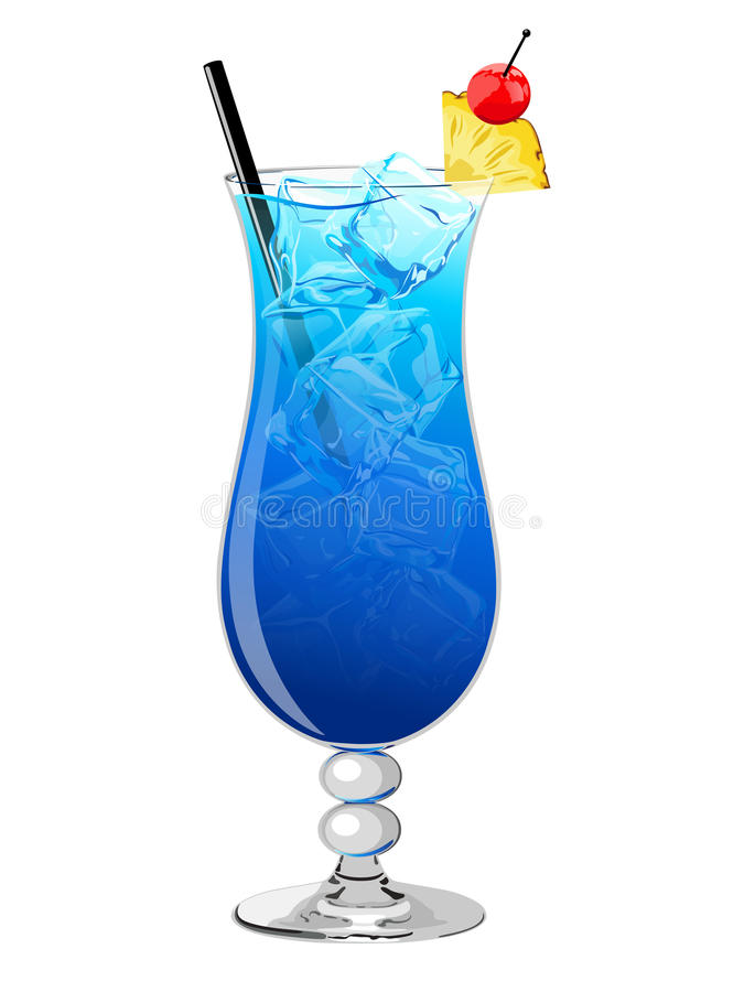 голубой коктеил Гавайские островы иллюстрация вектора