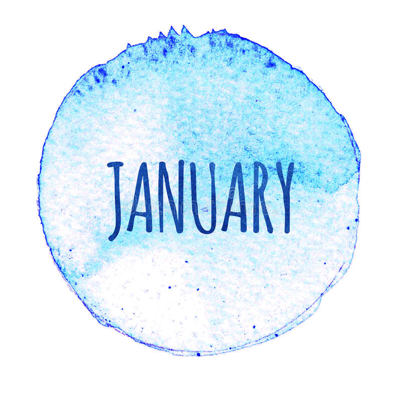 Download Голубой круг акварели с словом январем изолированный на белой предпосылке Иллюстрация штока - иллюстрации насчитывающей brusher, чертеж: 81810878