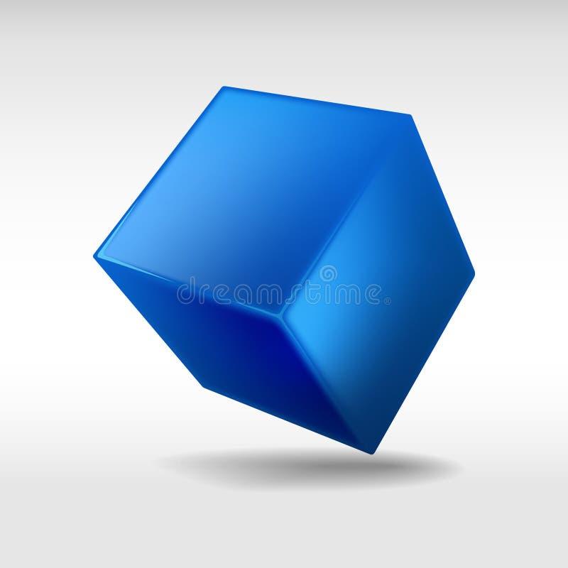 Голубой кубик изолированный на белой предпосылке вектор иллюстрация штока