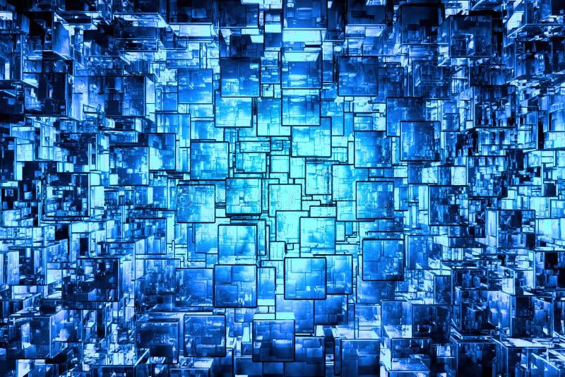 голубой кубический космос стоковое изображение