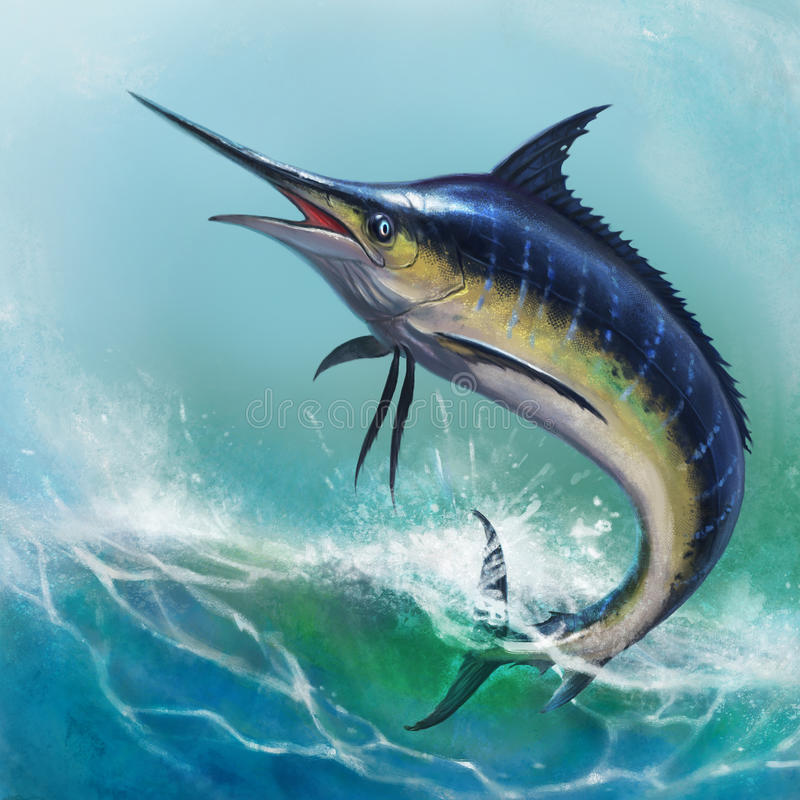 голубой Марлин иллюстрация штока