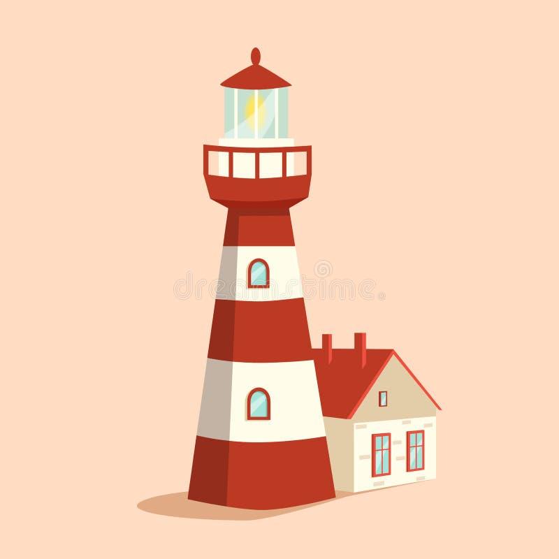 голубой маяк alien кот шаржа избегает вектор крыши иллюстрации Башня прожектора иллюстрация вектора