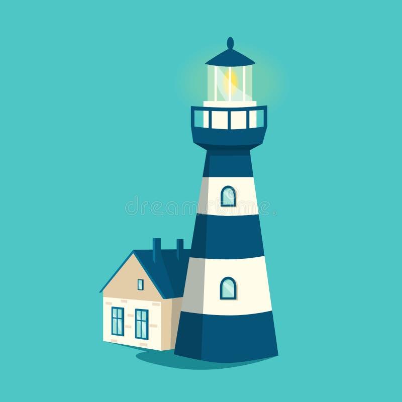 голубой маяк alien кот шаржа избегает вектор крыши иллюстрации Башня прожектора иллюстрация штока