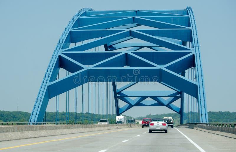 Голубой мост от Айовы к Небраске стоковые изображения