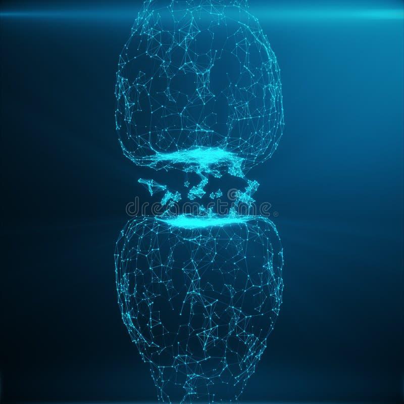 Голубой накаляя синапс Искусственный нейрон в концепции искусственного интеллекта Синаптические передающие линии ИМПов ульс стоковая фотография