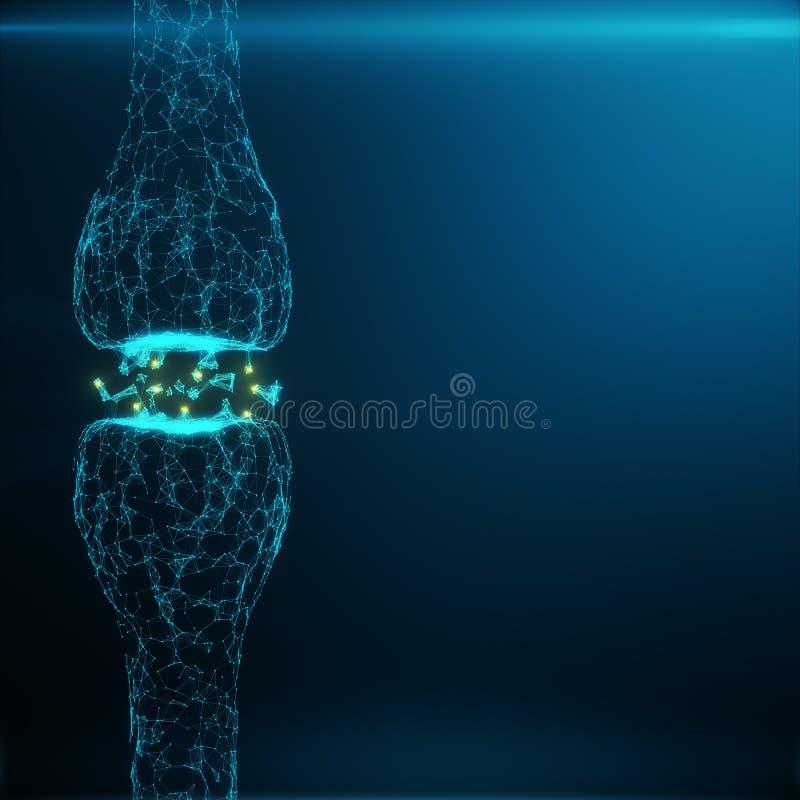 Голубой накаляя синапс Искусственный нейрон в концепции искусственного интеллекта Синаптические передающие линии ИМПов ульс иллюстрация штока