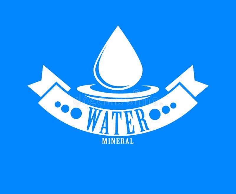 голубой логос Ярлык для минеральной воды икона aqua иллюстрация вектора