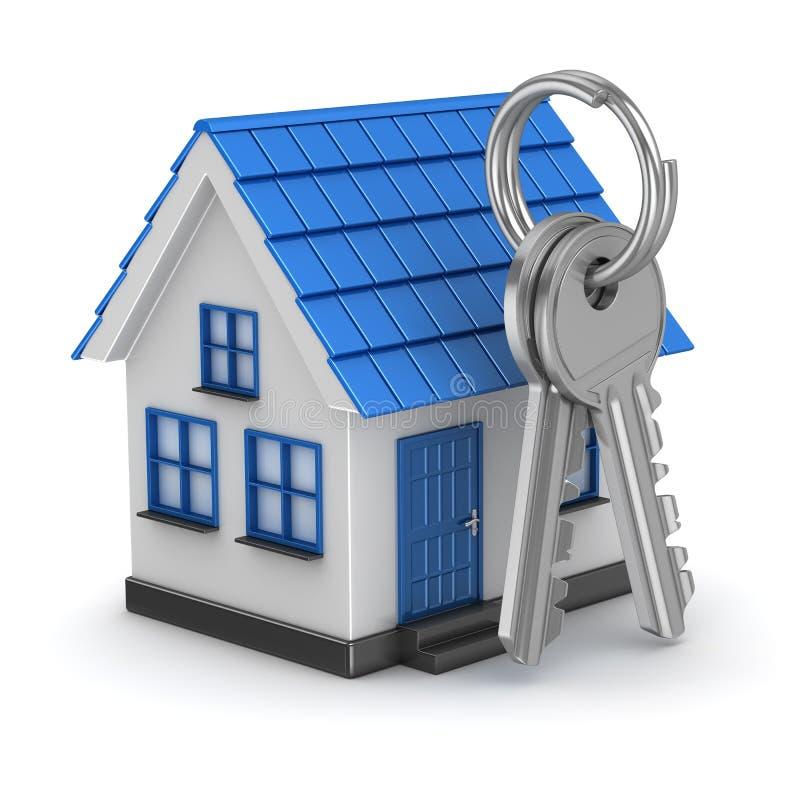 голубой дом 3d и ключ бесплатная иллюстрация