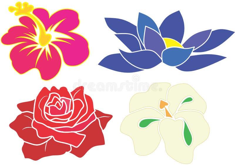 Голубой лотос, белая орхидея, красная роза и розовый вектор гибискуса бесплатная иллюстрация