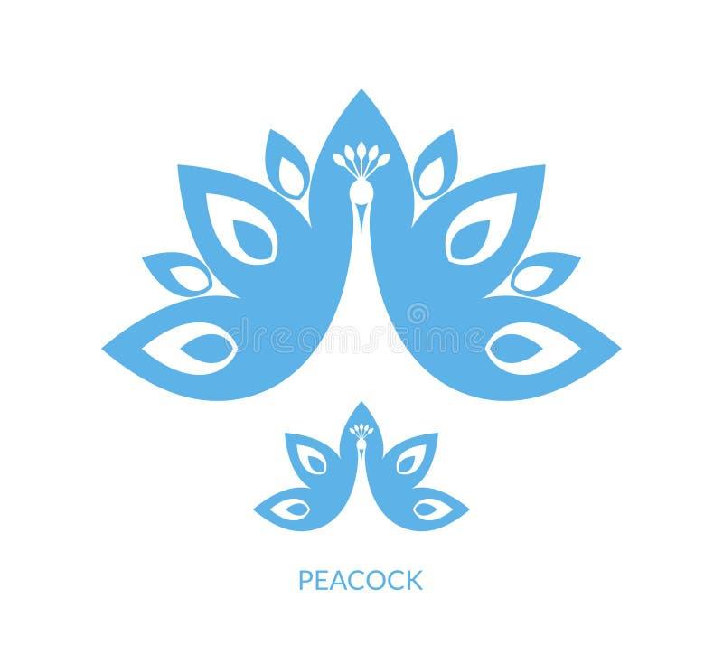голубой павлин иллюстрация вектора