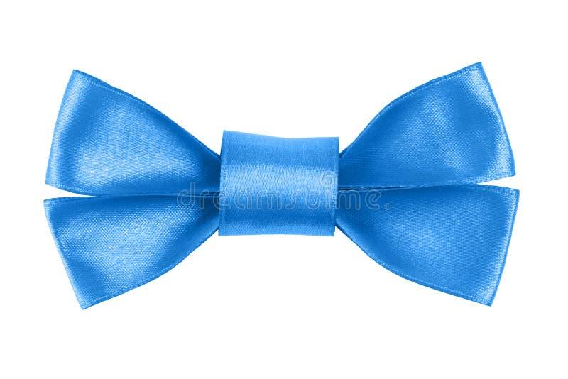 Голубой праздничный смычок сделанный от ленты стоковая фотография rf