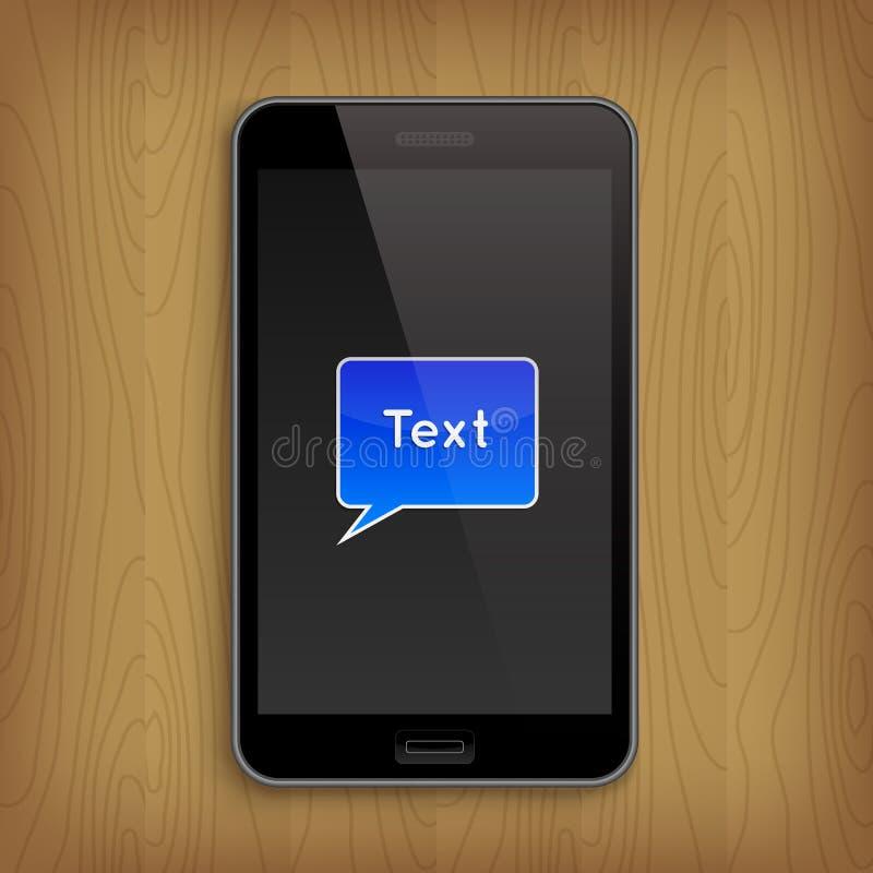 Голубой пузырь текста в телефоне также вектор иллюстрации притяжки corel иллюстрация вектора