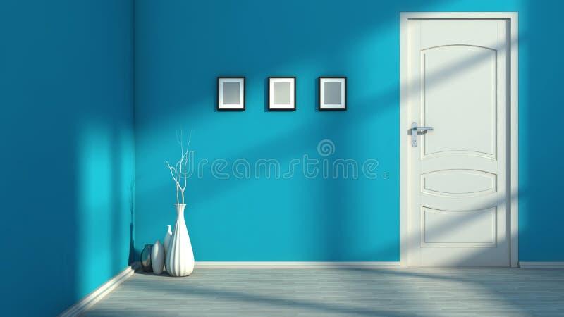 Голубой пустой интерьер с белой дверью иллюстрация вектора