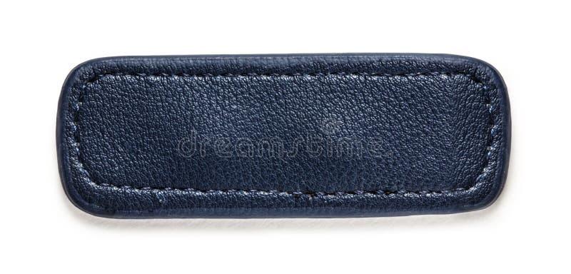 Голубой пустой кожаный ярлык стоковое фото