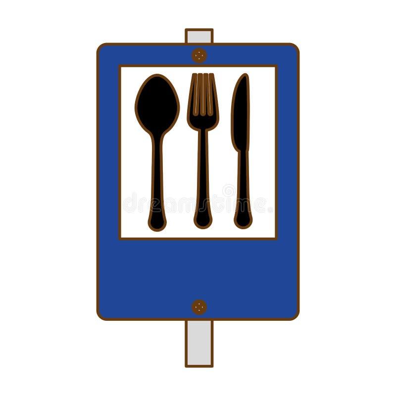 голубой ресторан сигнала около дизайна значка иллюстрация штока