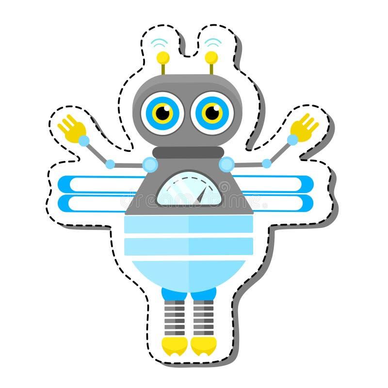 Голубой дружелюбный характер робота пчелы шаржа иллюстрация вектора