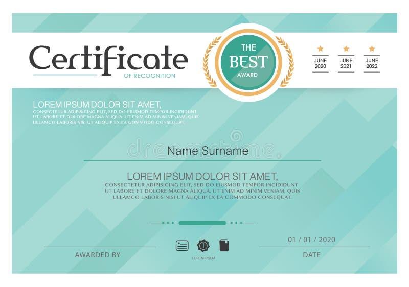 Голубой сертификат, шаблон сертификата вектора, современный стиль иллюстрация штока