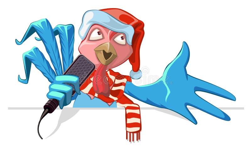Голубой символ 2017 крана Петух в шляпе santa поя в песню микрофона бесплатная иллюстрация