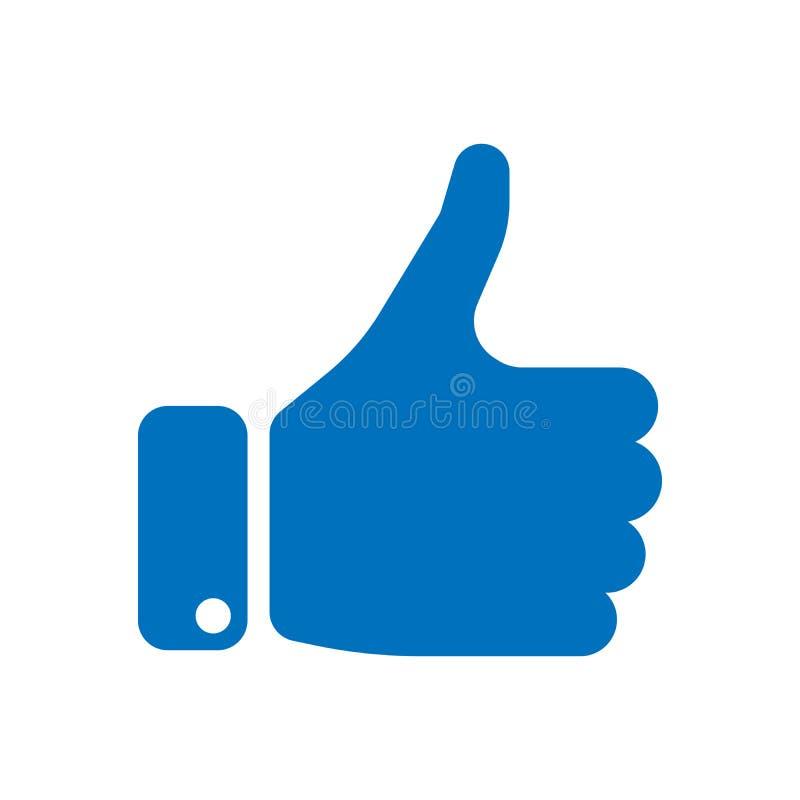 Голубой силуэт руки с большим пальцем руки вверх Жест как, соглашается, да, утверждение или поощрение Простой плоский вектор иллюстрация вектора