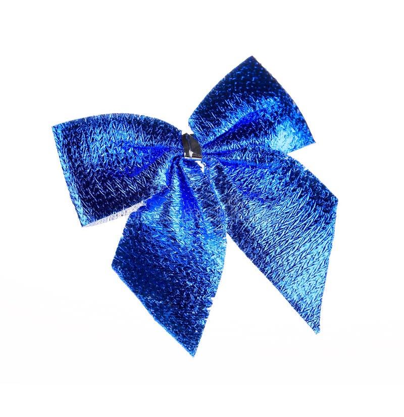Голубой смычок сделанный ленты. стоковое фото rf