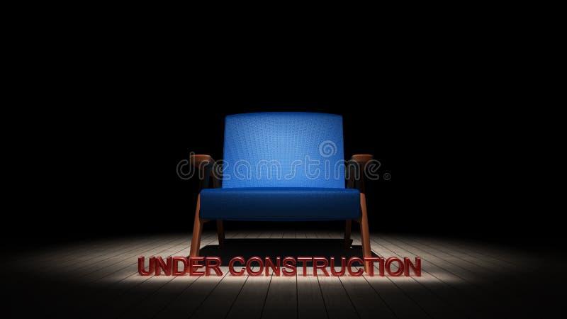 Голубой стул в темноте с нижним знаком 3D конструкции представляет бесплатная иллюстрация