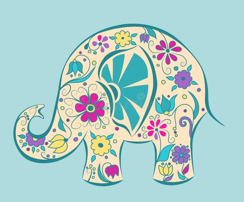 Голубой слон покрашенный цветками. иллюстрация штока