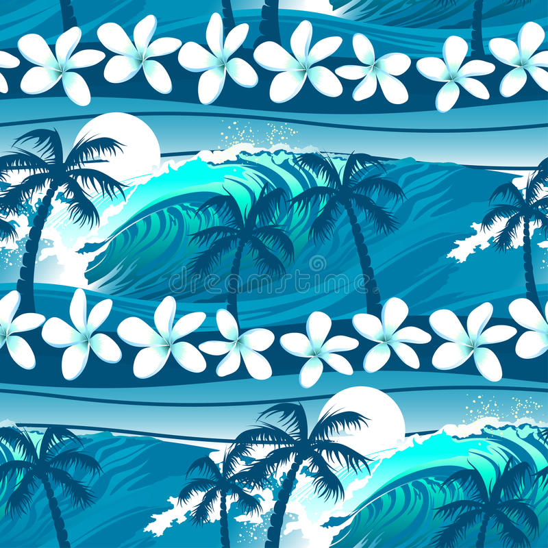 Голубой тропический серфинг с картиной пальм безшовной иллюстрация штока