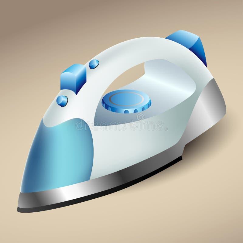 Голубой утюг пара иллюстрация вектора