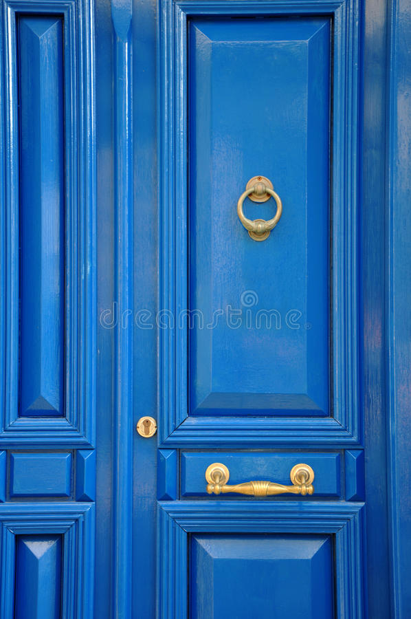 голубой фронт двери стоковое фото rf