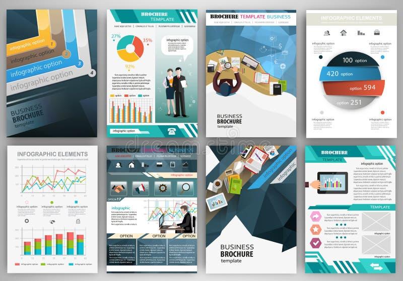 Голубой шаблон брошюры дела с infographic элементами иллюстрация штока