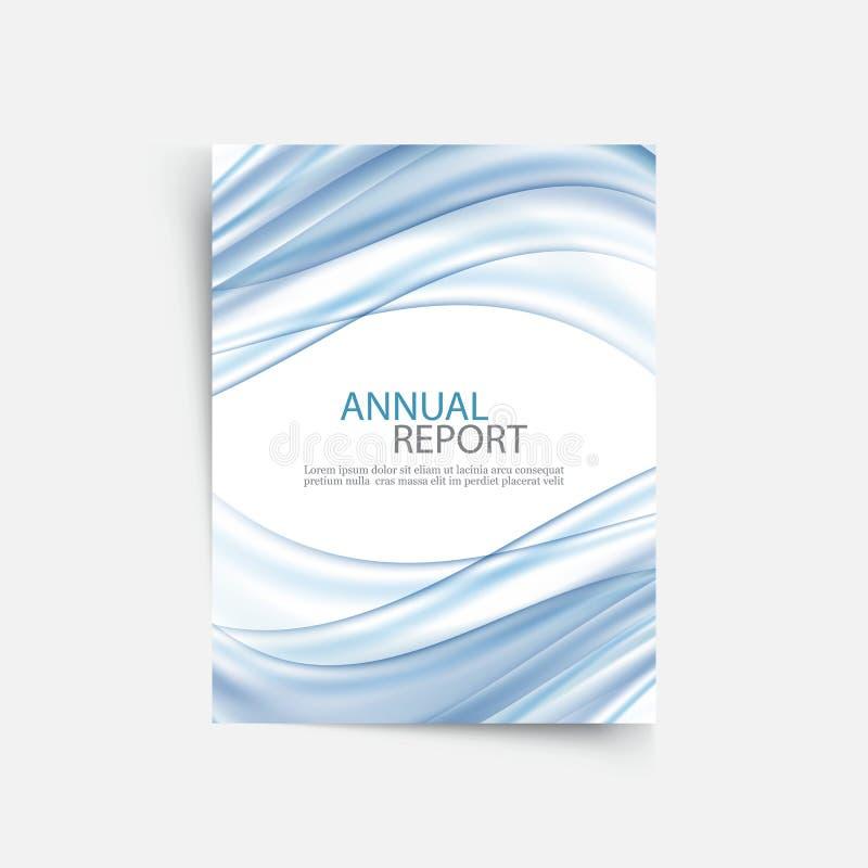 Голубой шаблон крышки годового отчета волны Брошюра, план шаблона рогульки, предпосылка конспекта листовки вектора иллюстрация штока
