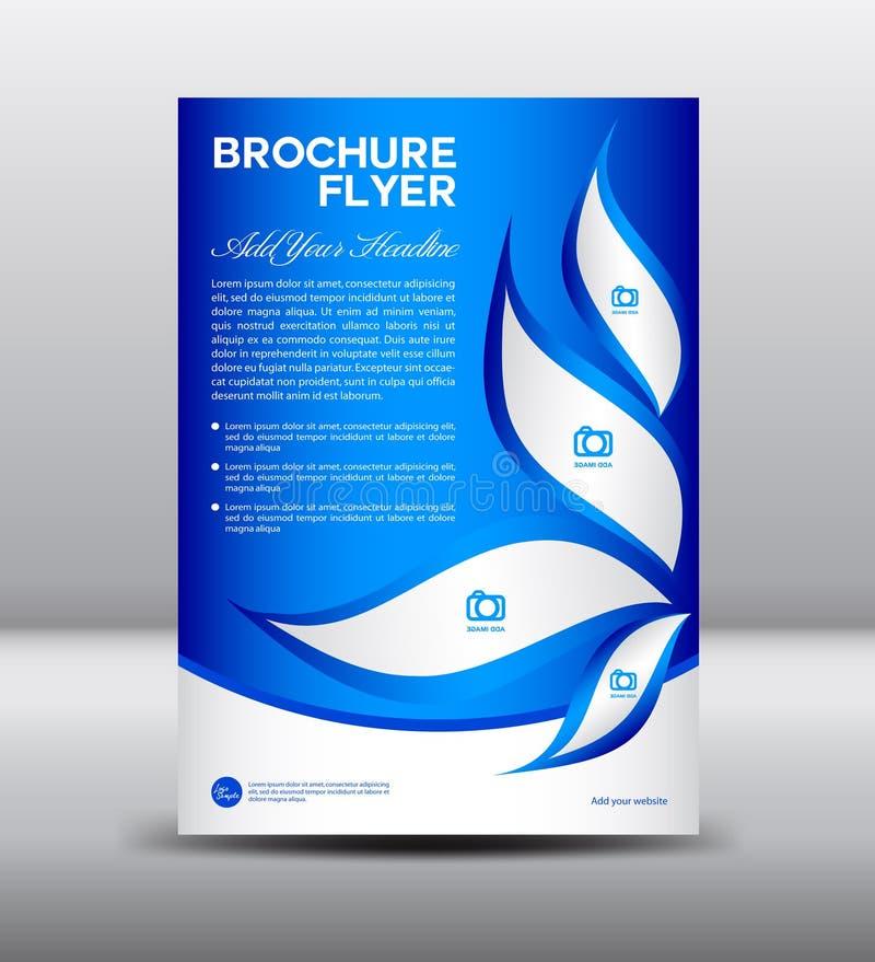 Голубой шаблон рогульки брошюры, дизайн информационого бюллетеня, шаблон листовки иллюстрация штока