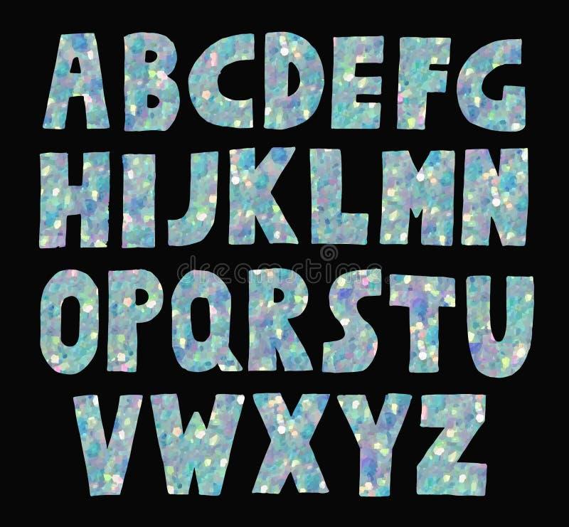 Голубой яркого блеска сверкнать шрифт иллюстрация штока