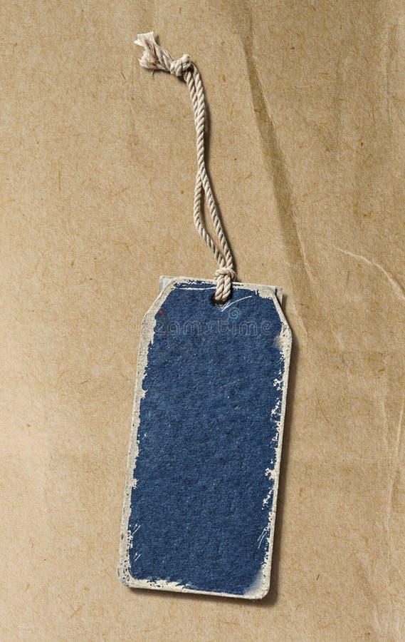 Голубой ярлык чистого листа бумаги стоковое изображение