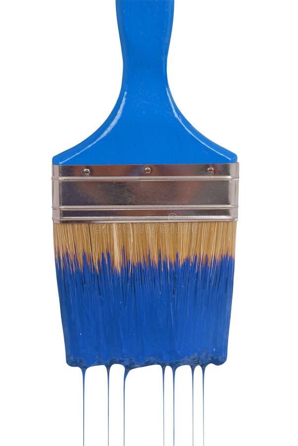 голубой paintbrush краски капания стоковое изображение