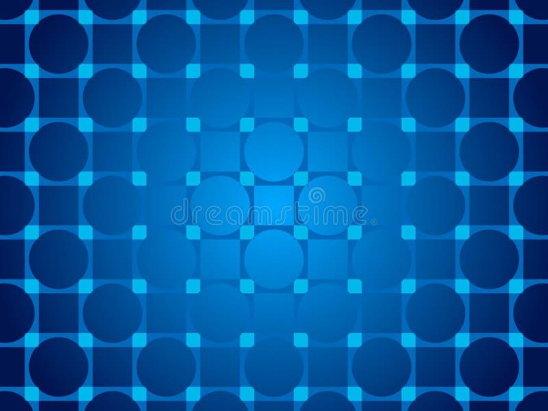 Голубые абстрактные предпосылка, круги частиц и квадраты иллюстрация штока
