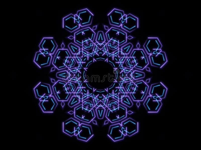 Голубые абстрактные формы и черная предпосылка иллюстрация вектора