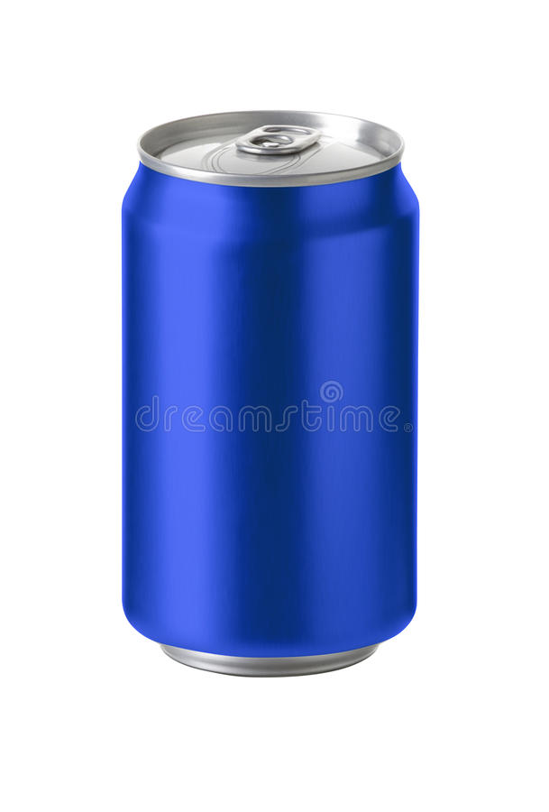 Голубые алюминиевые чонсервные банкы с пустым космосом экземпляра стоковые изображения
