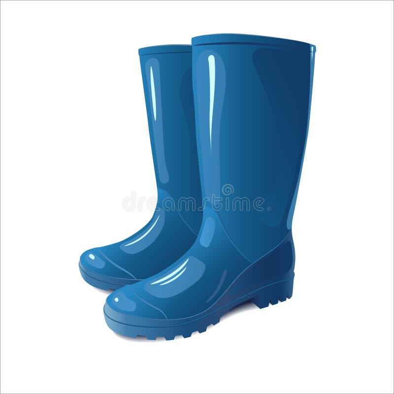 Голубые ботинки дождя иллюстрация штока