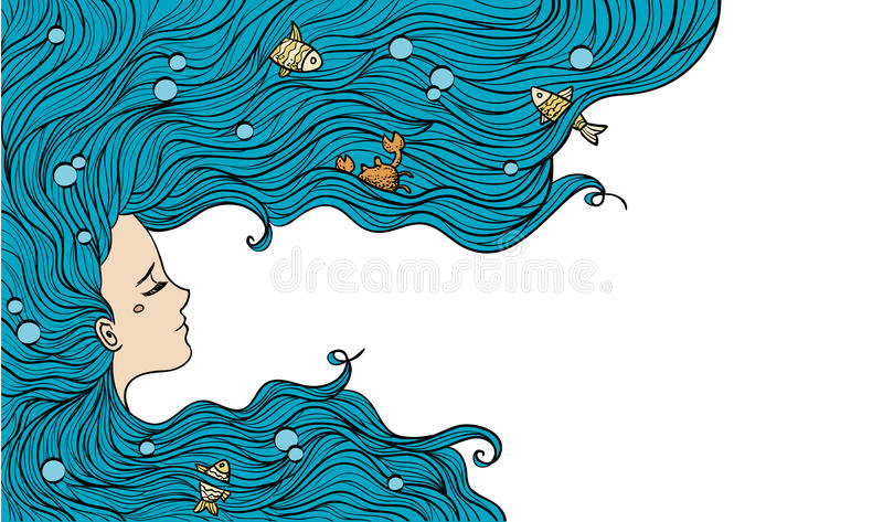 голубые волосы девушки также вектор иллюстрации притяжки corel иллюстрация штока