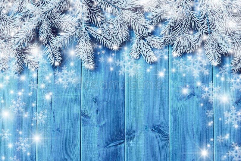 Голубые деревянные доски и ветви рождественской елки стоковые фото