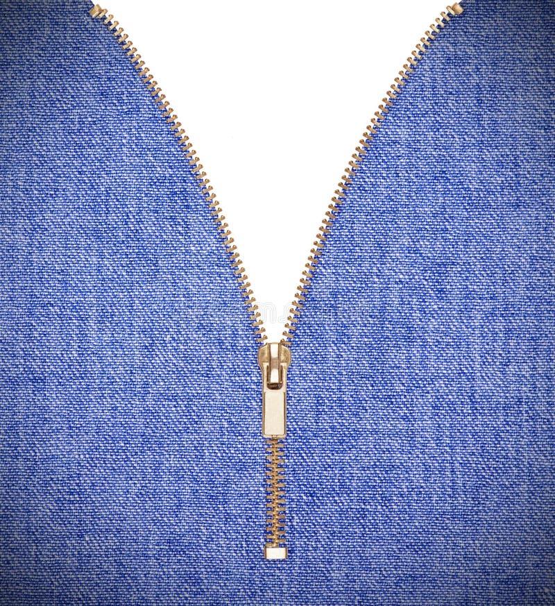 Голубые джинсы джинсовой ткани с молнией стоковое фото