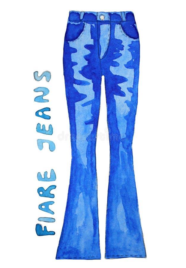 голубые джинсы предпосылки славные Нарисованная рукой иллюстрация акварели бесплатная иллюстрация